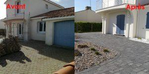 Travaux d'aménagement extérieur avant après : refection d'une allée en pierre par Gorichon Paysagiste, paysagiste sur Luçon, l'Aiguillon sur mer et la Tranche sur Mer